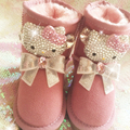 Free Shipping Luxury Handmade Rhinestone Pearl crystal girl's bling bling Snow Boots Fashion warm Winter children Boots Shoes