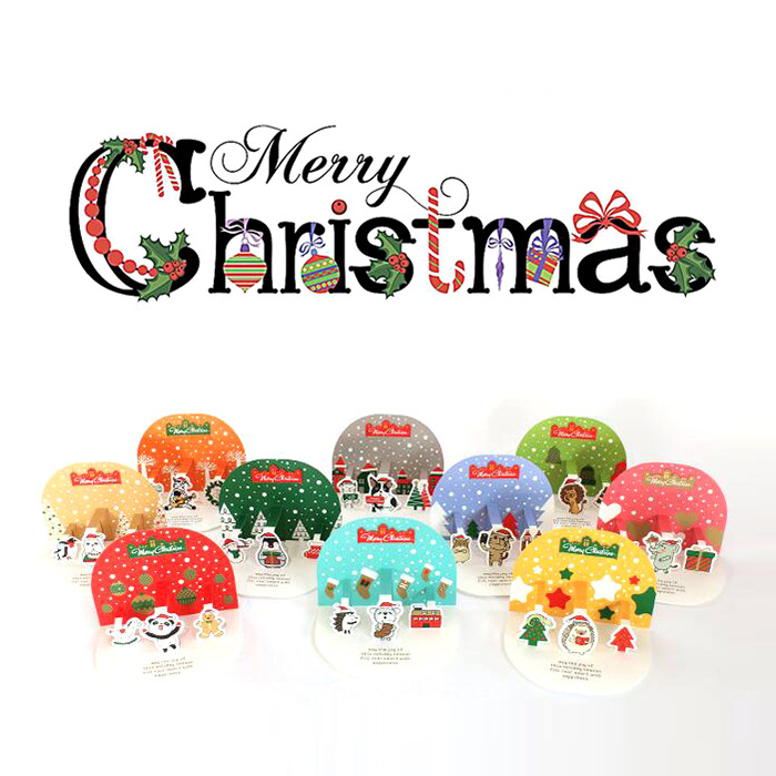 Korean Cute 3D Christmas Card Pack-10 Christmas Cards&Envelope& 2 Sheets Sticker Set High Quality Stand Paper Envelop 1box lot christmas gift christmas season organ folding christmas cards paper crafts scrapbooking cards gifts decoraiton