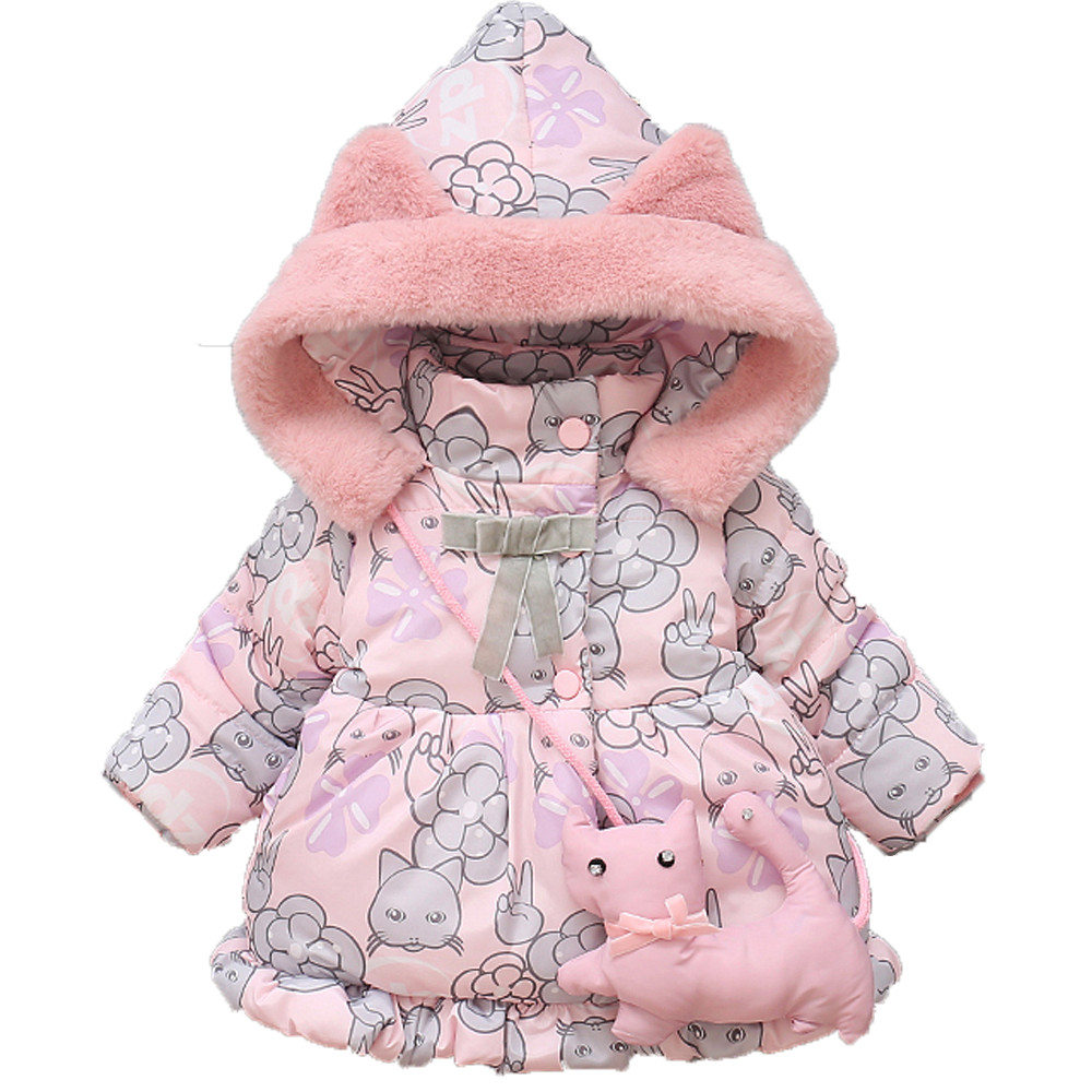 New Cute Baby Girl Clothes Winter Cotton Cat Hooded Coat