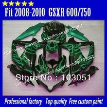 Корпуса комплекты для 2008 SUZUKI GSXR 750 обтекателей 2009 2010 GSXR 600 обтекатель K8 08 09 10 зеленое пламя в глянцевый черный sy98