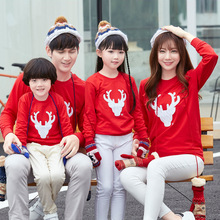 Cotton Christmas parent-child wear red sweater spring new casual clothing cute baby romper clothes print