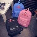 2016 симпатичные дизайнер harajuku печати холст женщины рюкзак для девочек-подростков, школьные сумки ноутбук рюкзаки мужчины mochila письмо