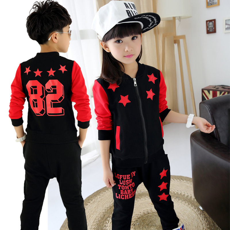 2017 new autumn unisex kids clothing set 3 4 6 9 12 age boys suit teenage girl clothes o-neck full clothes red black child suit 2017 new boys clothing set camouflage 3 9t boy sports suits kids clothes suit cotton boys tracksuit teenage costume long sleeve