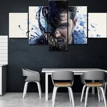 Venom Science Fiction Movie Modern HD Print 5 Piece Canvas Wall Art For Living Room Painting Wall Art Canvas Painting Artwork свечи д торта pap star гусеница 13 5х2 6х6см в ассорт 0 25ч г б аромата