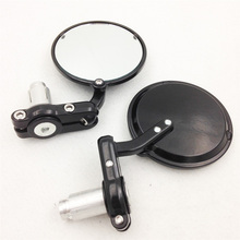 For Motorcycle Bar End Mirror For Cafe Racer Clubman Biker Black Aluminum Round Motorcycle