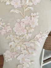 Pastel Beautiful Fine Embroidery Wedding Gown Prom Dress Lace Applique , Flower Venice Fabric for Garters Headband