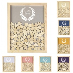 Engraved Personalised Rustic Wooden Drop Top Frame Wedding Guest Book olive leaf  Alternative Unique 130Pcs Hearts Decor