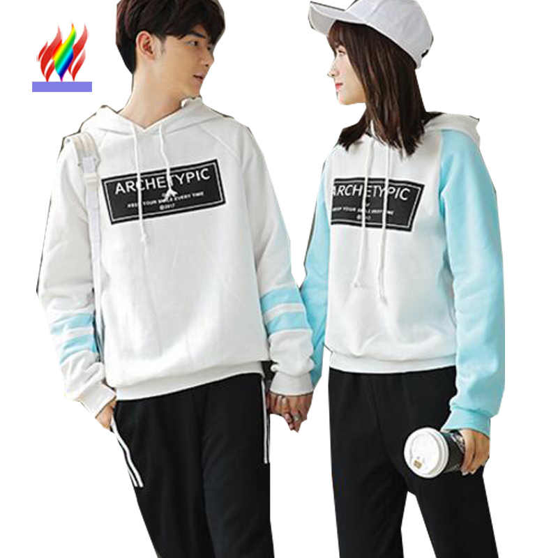 6ec90596c2 Korean Couple Clothes For Lovers Autumn Winter Tops Outwear Hooded Sweatshirts  Pullover Cute Matching Korean Couple