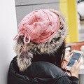 Moda das mulheres Lenço Feito Malha Dupla Coisa Natural Knitting Hat 7 Tampas de Pele De Coelho Chapéus De Pele De Inverno Feminino Genuíno Das Mulheres de cor senhora