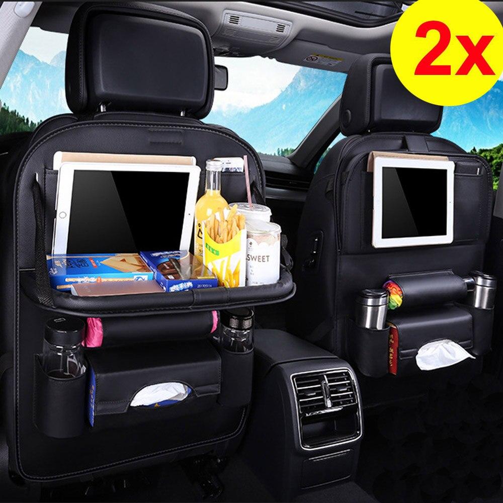 2pcs Universal Black Leahter Car Seat Back Storage Bag Folding Tray Organizer Holder Table Drink Chair