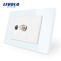 US AU Standard Livolo Luxur TV SATV Socket With White Pearl Crystal Glass VL C9 1V1ST