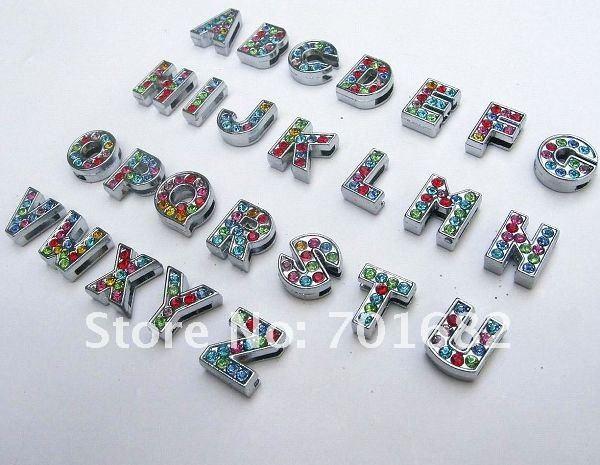 260 шт 8 мм цинкового сплава и красочные буквы для именных браслетов со стразами амулеты «сделай сам» подходят ошейники для домашних животных браслеты ремни