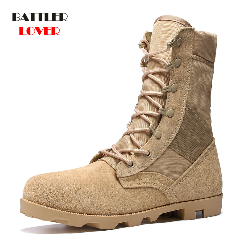 2019 Cow Suede Desert Boot Men Cowhide Safety Shoes Botas Hombre Motorcycle Boots Men Martin Army Boots Mens High Top Work Shoes