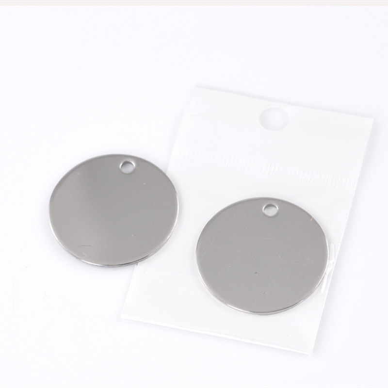 100 Pcs Silver Tone Round Stainless Steel Blank Stamping Tags Pendants Jewelry Making Component Charms Wholesale 30mm 1 1 8 quot in Pendants from Jewelry amp Accessories