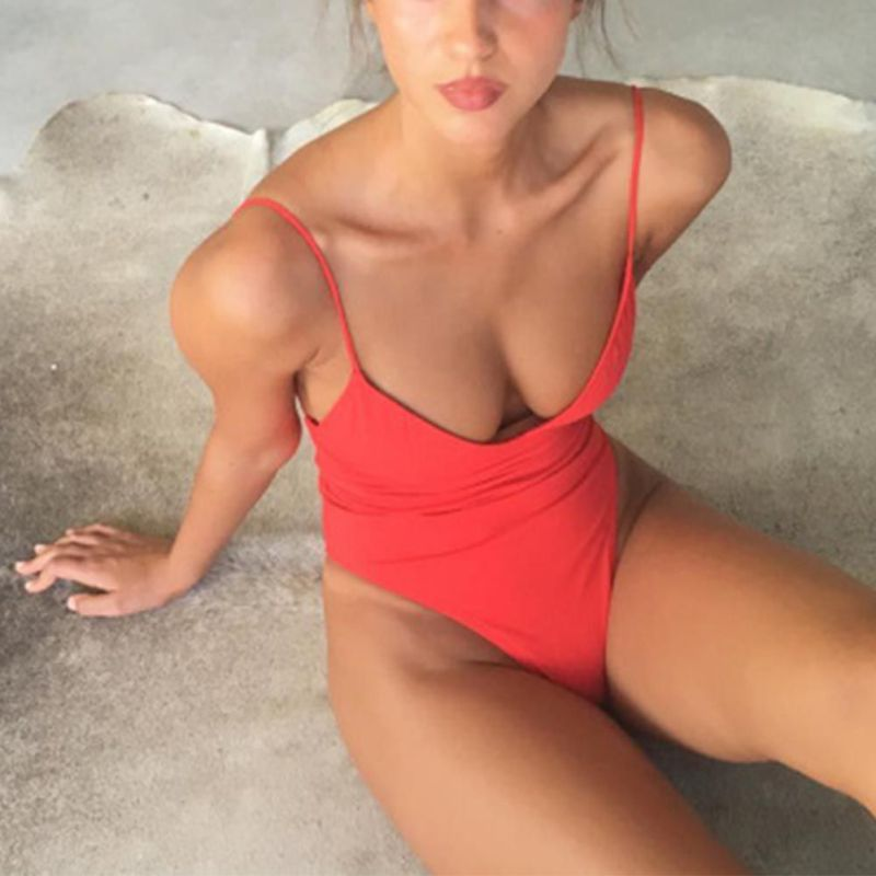 Swimwear Women Sling Backless One Piece Swimsuit Multi-choice Solid Bathing Suits Bikini Padded Beachwear купальник 7 colors