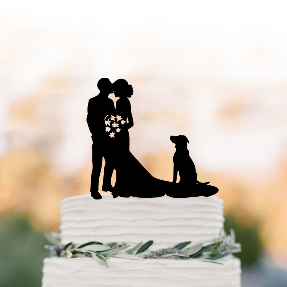 Mr and Mrs Wedding Cake Topper, Groom kissing brides forehead with dog silhouette Cake topper , funny wedding cake topper decor
