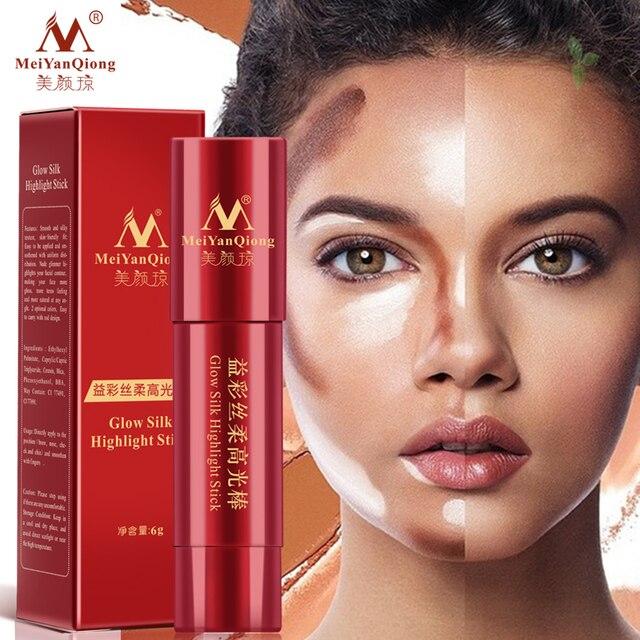 Brillo seda resaltado palo cuidado de la piel fácil de usar blanqueamiento 3D maquillaje corrector ilumina bronceadores y Resaltadores de larga duración