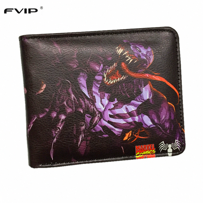 FVIP Marvel Comics Wallet Venom Iron Man Captain America Shield Spider Man Ant Man Punisher Short Wallets With Card Holder british fashion men business wedding genuine leather flats brogue shoes lace up carved bullock oxfords shoe italian handmade man