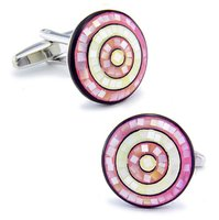 SPARTA Plated Wihte Gold + Nature Pearl Shells + Enamel pink cufflinks men's Cuff Links + Free Shipping !! metal buttons