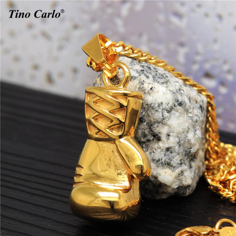 Tino Carlo Boy Fighter Sports Necklace Solid 316L Steel Golden 2 size Boxing Glove Rocki Necklace Cuban Chain Best Gift JF1283
