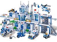 banbao 8353 1285Pcs City Series Extra Large Police Station Building Blocks kids DIY Educational Bricks Toys gift for children