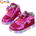 New Boys Girls PU Leather Mesh Children Shoes LED Light Up Luminous Glowing Breathable Sneakers Flats Casual Shoe Little Kids