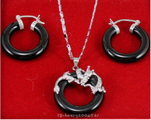 Jewellery black stone natural silver soild dragon pendant necklace earring>jewelry Quartz Crystal Women Wedding(China)