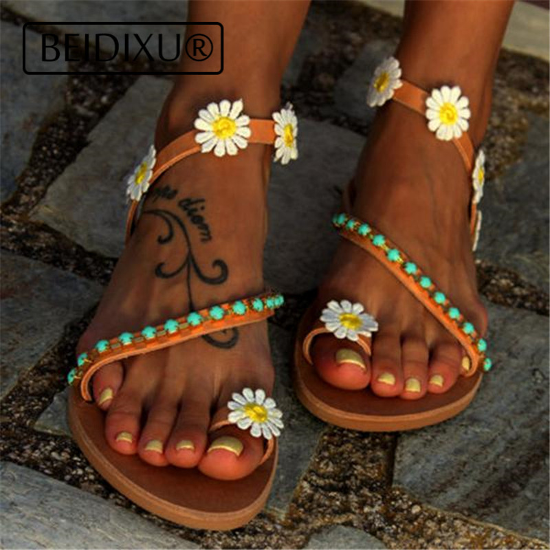 8cbb188ebe49 ... BEIDIXU PENG Bohemian Sandals Flats Gladiator Roman Greek Leather  Sandals Straps Slide Flowers Brown Bohemian Handmade ...