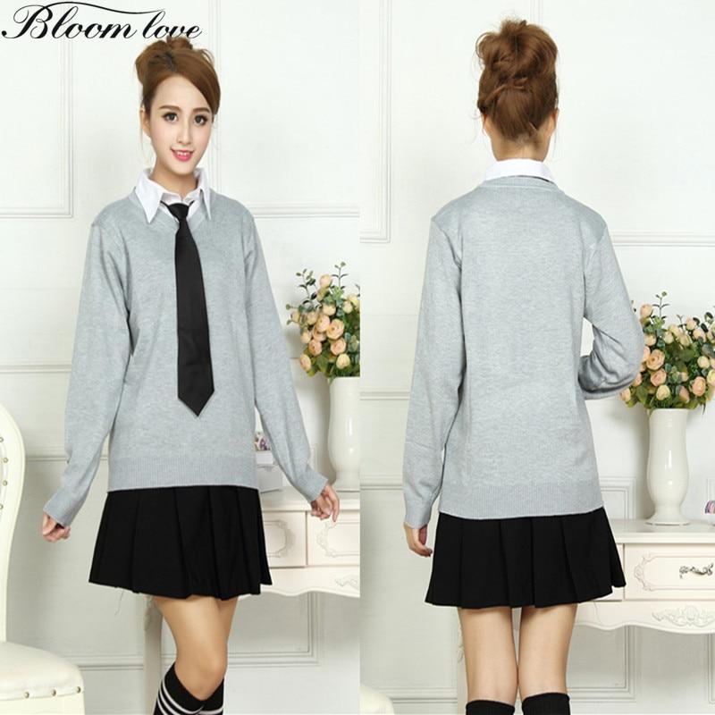 4 Pcs School uniforms Sailor suit Junior Senior school girls uniform Formal Student Dress Knitted Sweater+Shirt+Skirt+Tie C30X