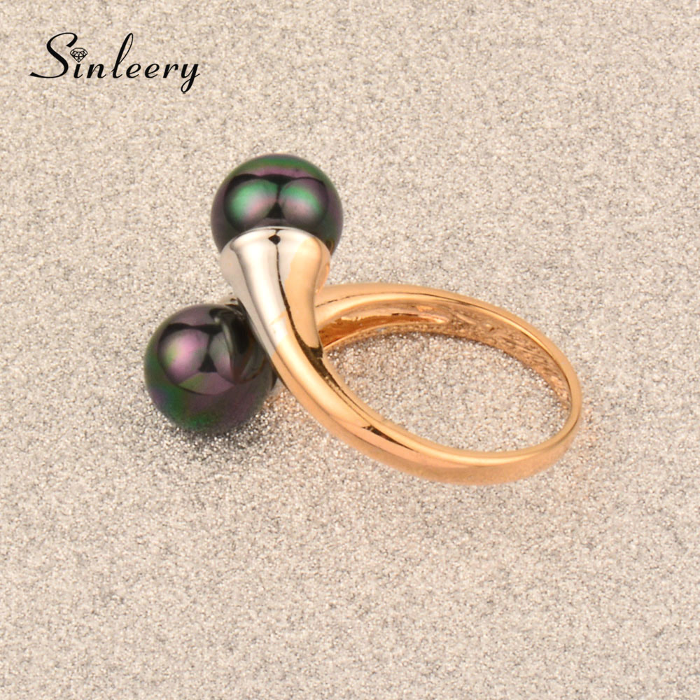 SINLEERY Vintage Double Black Simulated Pearl Rings For Women Rose Gold Color Engagement Wedding Jewelry 2017 JZ076 SSD