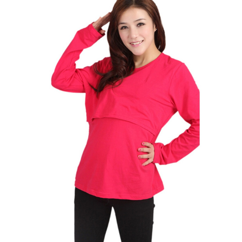 Mummy Lounge y Breastfeeding Cotton Nursing Long Sleeve Solid Tops Clothes 2017