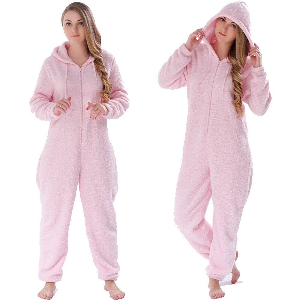 Women Onesies Winter Warm Pyjamas Fluffy Fleece Sleepwear Overall Hood   Sets     Pajamas   Onesie Homewear for Women Adult Plus Size