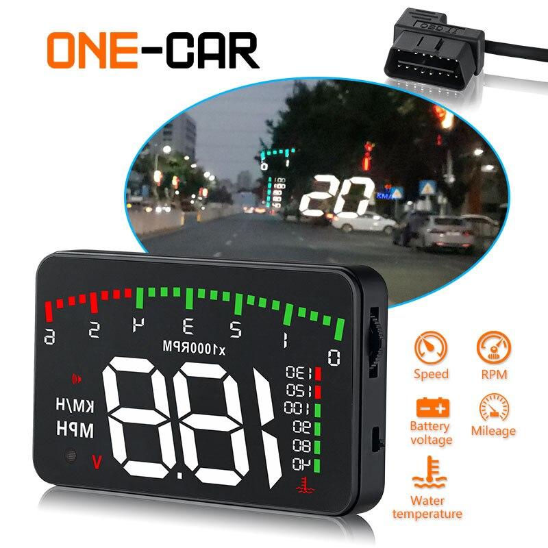 A100 3,5 A900 HUD Дисплей на лобовое стекло автомобиля-Стайлинг Hud Дисплей превышение скорости Предупреждение Лобовое стекло проектор сигнализаци...