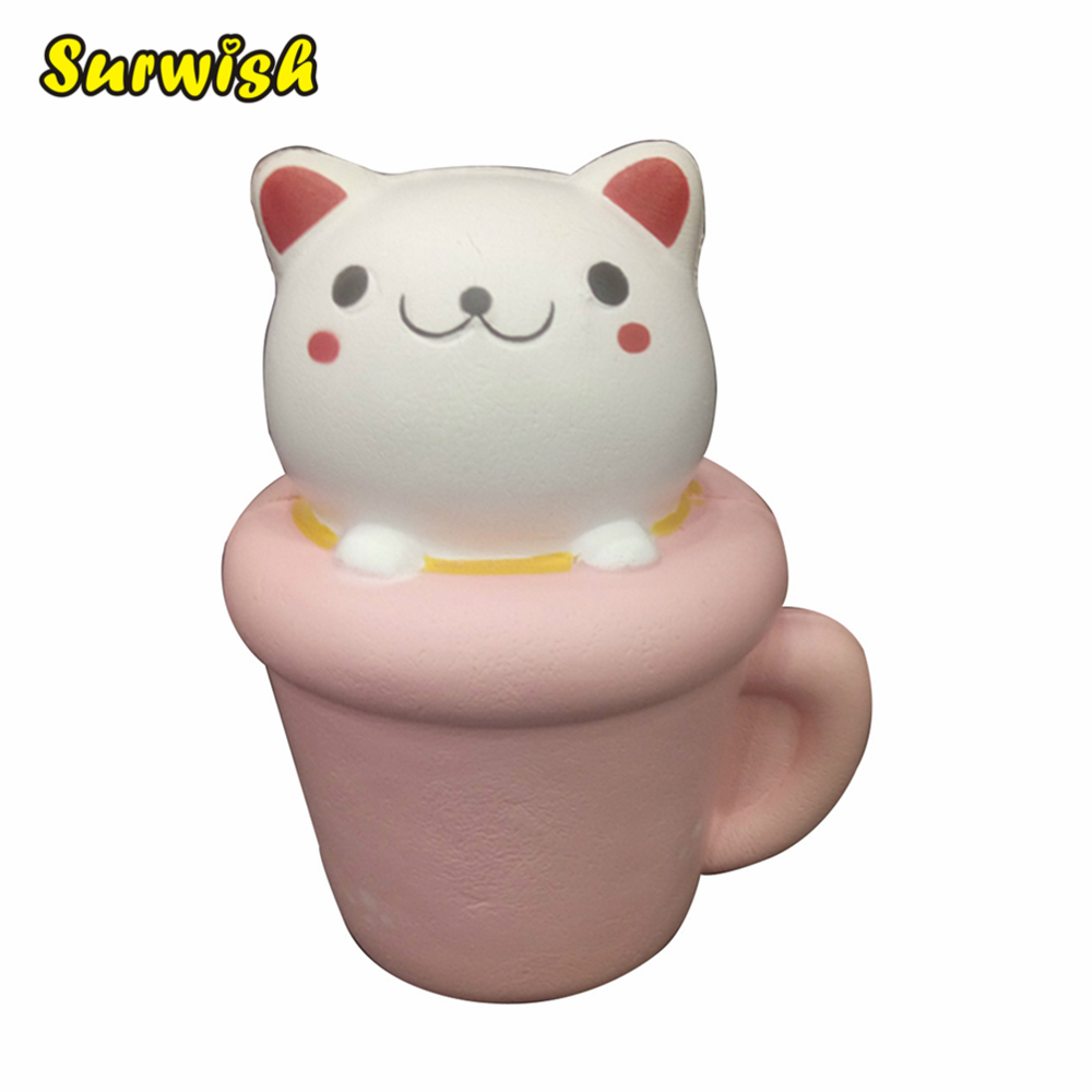 Cartoon Cat Cup Slow Rebound PU Decompression Toy Slow Rising Stress Reliever - Pink + White