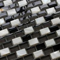 Guscio bianco mosaico di vetro di cristallo misto piastrelle muro del bagno piastrelle backsplash cucina camino casa ristrutturazione casa miglioramento