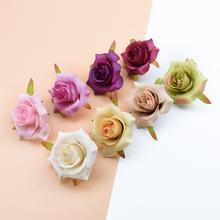 10 sztuk 6CM jedwabne róże kwiaty ozdobne ślubne akcesoria do dekoracji domu diy wieniec świąteczny sztuczne rośliny sztuczne kwiaty tanie tanio Ślub Róża Jedwabiu Kwiat Głowy ZQCY