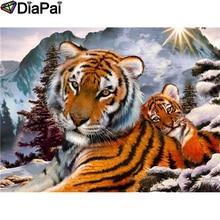 DIAPAI 100% Full Square/Round Drill 5D DIY Diamond Painting Animal tiger Diamond Embroidery Cross Stitch 3D Decor A21047 diapai 5d diy diamond painting 100% full square round drill animal cat tiger diamond embroidery cross stitch 3d decor a22099