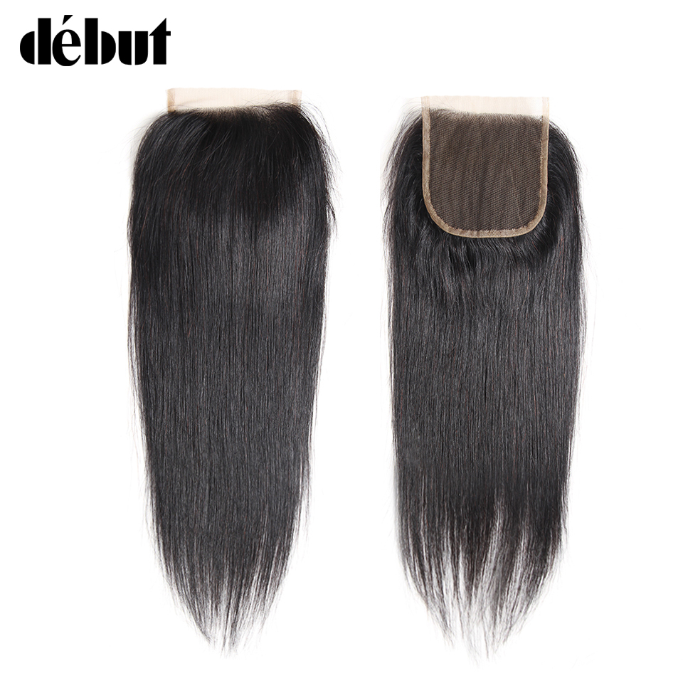 Debut Hair Brazilian Straight 4x4 Lace Closure Natural Color Remy Hair Extension 8-20 Inch Swiss Lace Closure Free Shipping