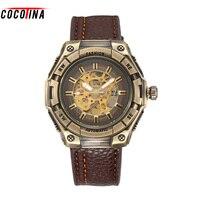 Cocotina 해골 기계 자동 남성 시계 뜨거운 판매 골동품 bronze 복고풍