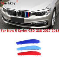 3D M Car Front Grille Trim Strips Grill Cover Sticker for BMW New 5 Series G30 G31 G38 530i 540i 520d 530d 2017 2018 9 Grilles