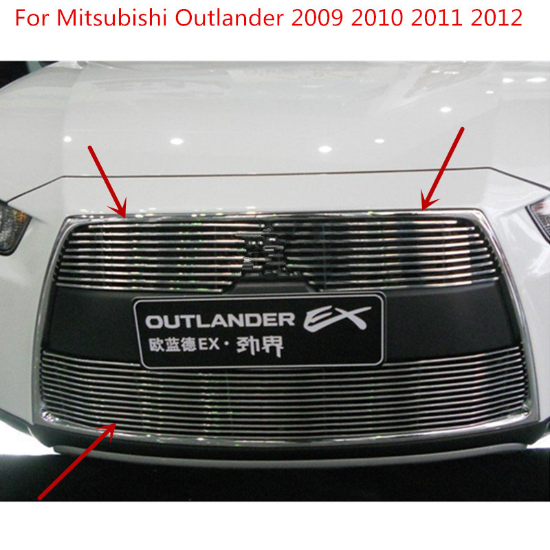 For Mitsubishi Outlander 2009 2010 2011 2012 High quality Aluminium alloy Front Grille Around Trim Racing Grills Car styling
