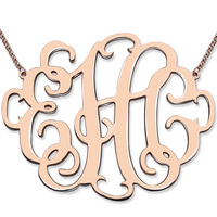 XXL Monogram Necklace 2 Inch Personalized Initials Necklace Rose Gold Handmade Monogram Jewelry Best Gift For