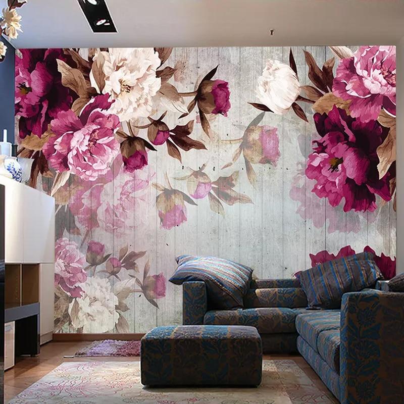 Custom Mural Wallpaper Romantic Hand Painted Flower Non-woven Wallpaper For Bedroom Walls Living Room TV Background Decor 3D