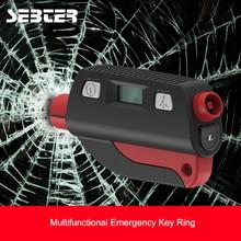 SEBTER Multifunction Glass Window Breaker Emergency Key Rings Mini Safety Hammer Escape Tool for Car Tire Pressure Detection LED