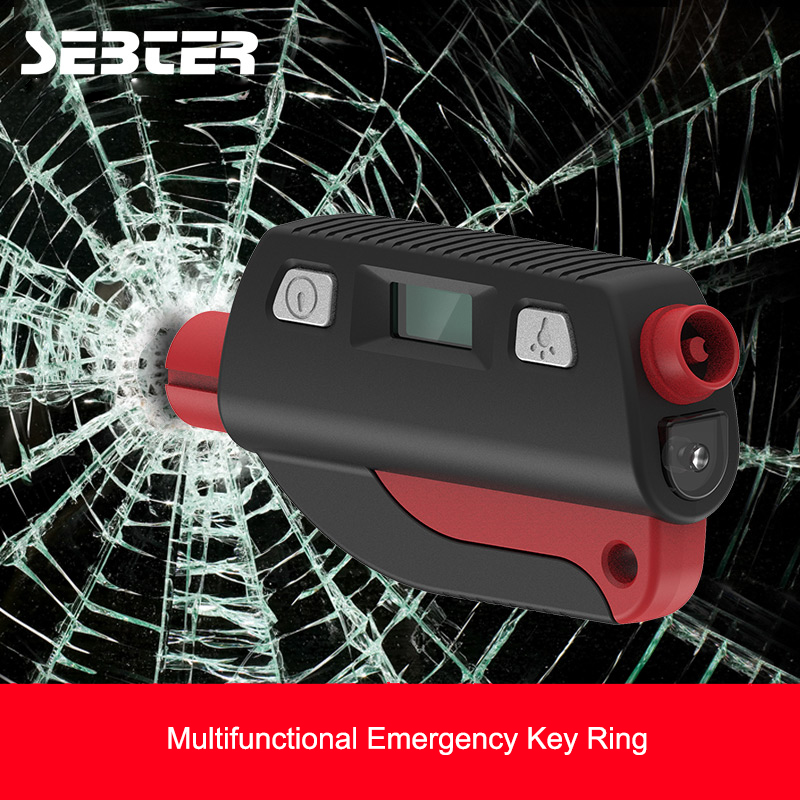 SEBTER Multifunction Glass Window Breaker Emergency Key Rings Mini Safety Hammer Escape Tool for Car Tire Pressure Detection LED flashlight tire gauge emergency tool digital lcd car tyre tire pressure gauge meter hammer for car motorcycle bicycle