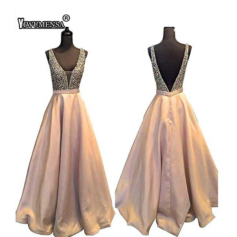 yiwumensa Sliver Crystal Beading   Prom     Dresses   Long 2018 Sexy Open Back Party A line Scoop   Prom     Dresses   Custom Made Party Gown