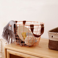 Rose Gold Color Metal Storage Baskets Nordic Style Round Iron Wire Clohing/Sundries Basket with Handle Creative Home Decor