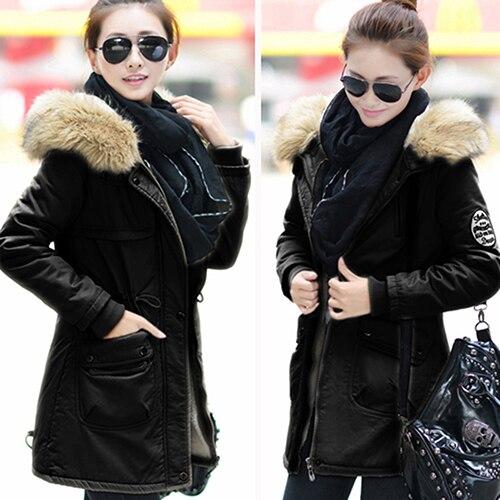 ФОТО Women Winter Warm Jacket Zip Coat Long Sleeve Faux Fur Thick Hooded Outwear