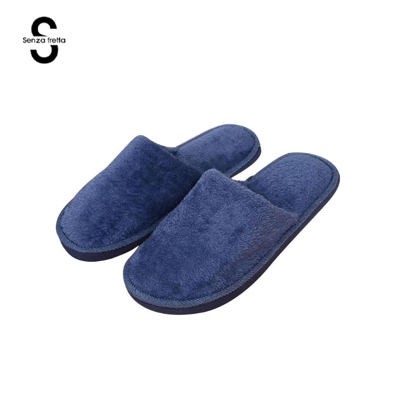 Senza Fretta Men Shoes Winter Warm Home Slippers Men Fashion Couple Men Plush Warm Slippers Indoor Soft Couple indoor Slippers millffy plush slippers squinting little sheep indoor household slippers lambs wool home couple slippers