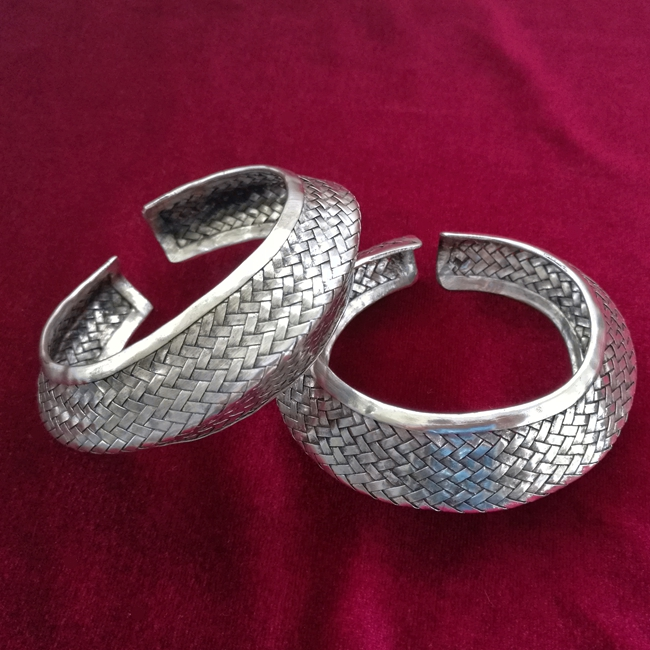Guizhou ethnic style Miao personality jewelry handmade Miao silver wide bracelet Exaggerated faceted woven bracelet garda decor набор для чая 3 предмета